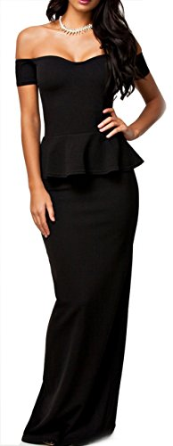 NuoReel Women's Drop shoulder Peplum Maxi Evening Dress Large Size Black