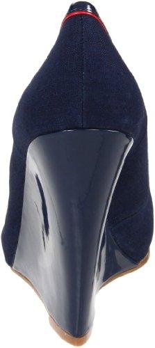 Nine West Women's Flamboyant Wedge Pump,Navy Multi Leather,10 M US