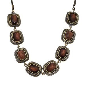 Vilette Antique Gold Brown Choker Necklace