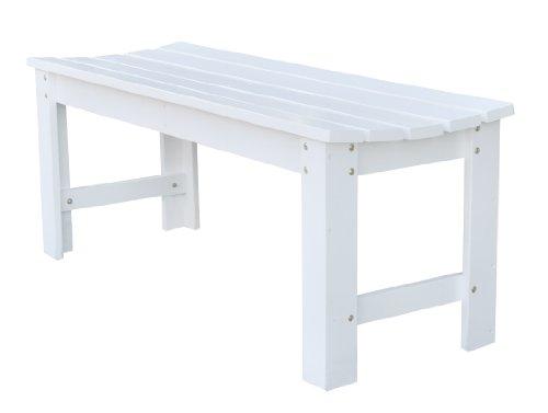 Shine Company Backless Garden Bench, 4-Feet, White
