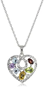 "Sterling Silver Multiple Gemstone Heart Necklace, 18"""