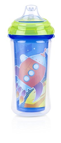 Nuby Insulated No-Spill Silicone Spout Clik it Cup, 6 Months Plus, Blue