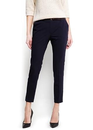 Mango Women's Cropped High Waist Trousers, Navy, 4
