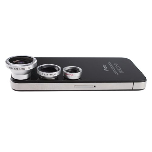 3 in 1 Camera Lens Kit for Apple iPhone 4 iPad (Fish Eye Lens, Wide Angle + Micro Lens)