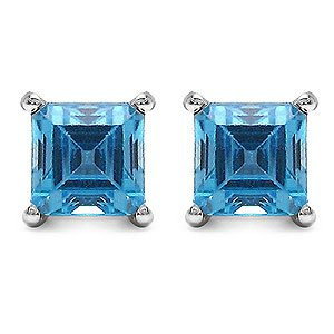 1.00 Carat Genuine Swiss Blue Topaz Square Shape Sterling Silver Stud Earrings
