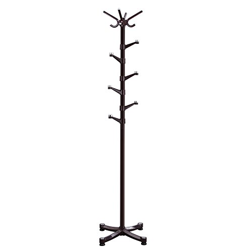 SONGMICS Metal Coat Rack Purse Rack Hall Tree with 14 Rotating Plastic Hooks Espresso URCR19Z (Coat Hanger Stand compare prices)
