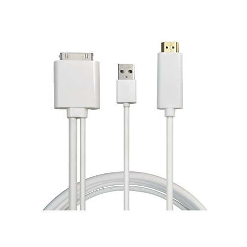 NAMEO 1.8 Meter 30 Pin Dock Connector to HDMI Male with USB Charger Cable Converter Adapter for iPad 3 2 1 iPhone 4/4S iPod Touch 4th Supports Up to iOS 8.0/9.0 (Iphone 4s Cord For Tv compare prices)