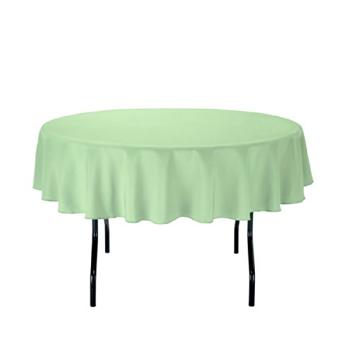 Linentablecloth Round Polyester Tablecloth, 70-Inch, Reseda front-508968