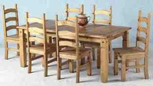 Corona Mexican 6' dining table  &  6 Chairs/ Distressed Waxed Pine