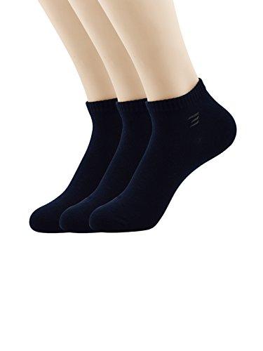Zando Uomo Ultimate cotone Sport Comodi Calzini taglio basso Athletic caviglia 3 Pairs Navy Blue Taglia Unica: 24 cm- 27 cm(Misura scarpa: 42-46)