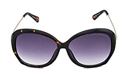Vintage Elements Non Polarized Women's Sunglass Golden Black Frame & Brown Shaded Lens