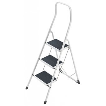 Step and Store - Hailo Steel Folding Steps With Handrail - 3 Tread, 2.46m Maximum Working Height