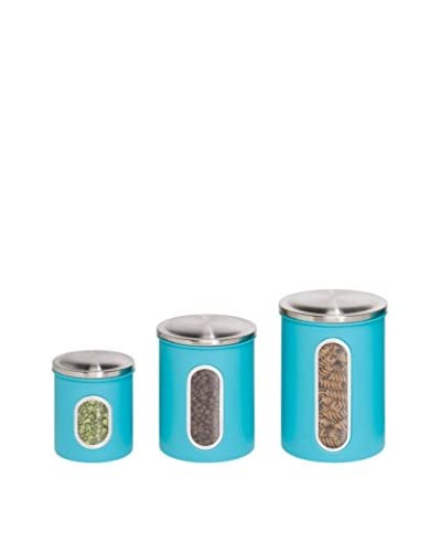 Honey-Can-Do Set of 3 Metal Storage Canisters, Blue/Clear