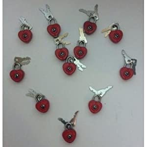 12 red heart shaped locks with keys, party favor