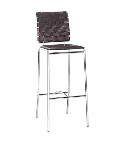 Zuo Modern Criss Cross Bar Chair, Espresso
