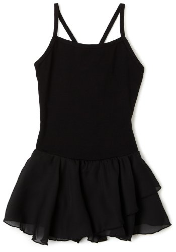 Capezio Girls 7-16 Camisole Cotton Dress,Black,M (8-10)