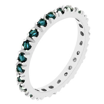 White Gold Rhodium Bonded Eternity Ring with Channel Set Montana Blue Cz in Silvertone Women Jewelry (9)