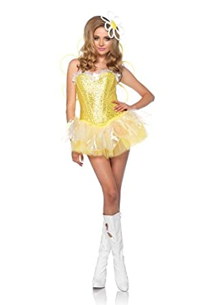 Leg Avenue Costumes 4Pc.Daisy Doll Includes Corset Tutu Wings Headpiece with Led, Yellow, Small