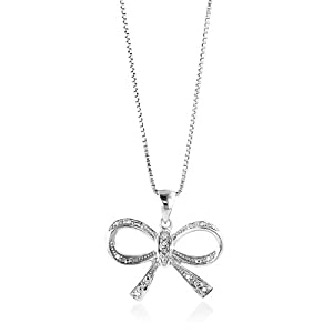 Sterling Silver Diamond Accented Bow Pendant/Necklace with 18