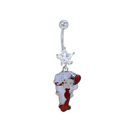 Betty Boop Belly Ring Dangle Jewelry Clear Gem Betty Boop Dangle with Feather Hat Star Gem