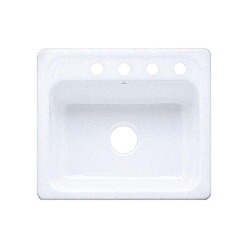 KOHLER K-5964-4-0 Mayfield Self-Rimming Kitchen Sink, White (Cast Iron Sinks Kitchen compare prices)