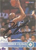 Derrick Coleman New Jersey Nets 1994 Hoops Autographed Hand Signed Trading Card -... by Hall+of+Fame+Memorabilia