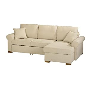Chiswick large chaise sofa bed with storage natural right for Sofa bed amazon uk