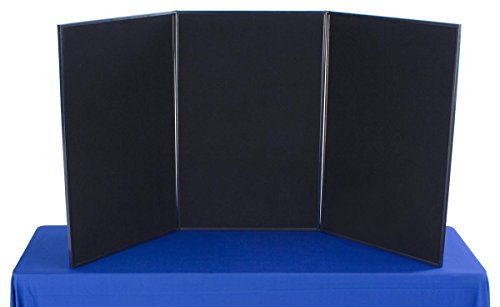 Displays2go Tri Fold 3-Panel Display Board, 72 x 36 Inches with Black Velcro-Receptive Fabric and Write-On Whiteboard (3PV7236BLK) (Panel Display compare prices)