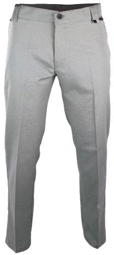 Mens Slim Fit Trousers Light Grey Black Design Smart Italian Styling