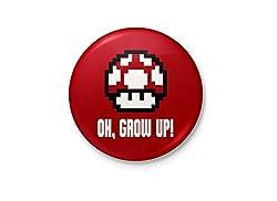 Grow Up Mario - Mushroom Minimalist Badge
