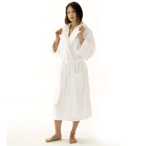TowelsRus Value Egyptian Cotton Shawl Collar Unisex Dressing Gown 500gsm Towelling Medium / Large White Bathrobe
