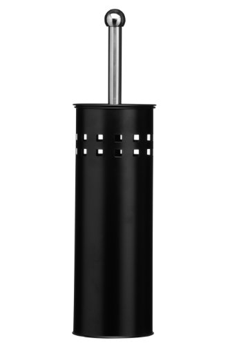 Premier Housewares Square Design Toilet Brush and Holder - 38 x 10 x 10 cm - Black