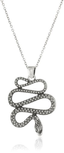 Flying Lizard Designs Silver Chained Snake Cubic Zirconia Pendant Necklace