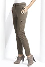 Cotton Rich Slim Leg Zip Pockets Cropped Trousers [T57-5982-S]