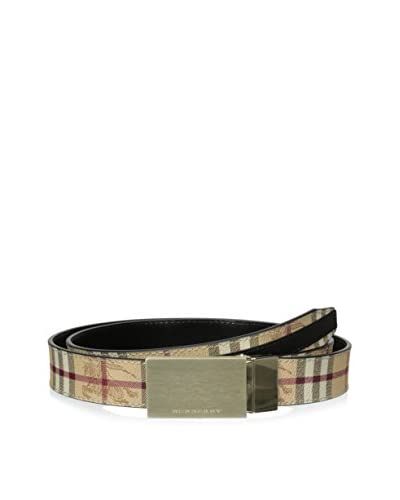 Burberry Men's Classic Plaid Adjustable Plaque Buckle Belt, Brown