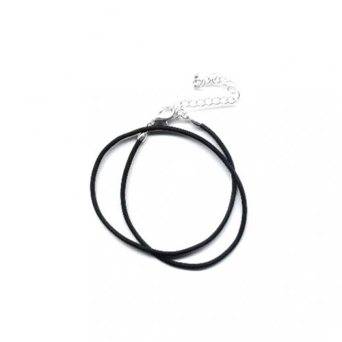Bling Jewelry Black Rubber Cord Necklace