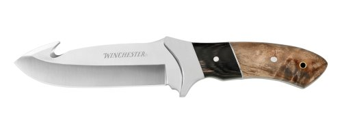 Winchester 22-41783 Burl Wood Large Fixed Blade Guthook Knife, Fine Edge
