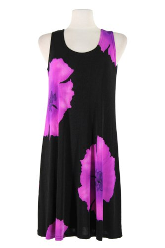 Jostar Stretchy Missy Tank Dress With Print In Flower Design Purple Color In Medium Size