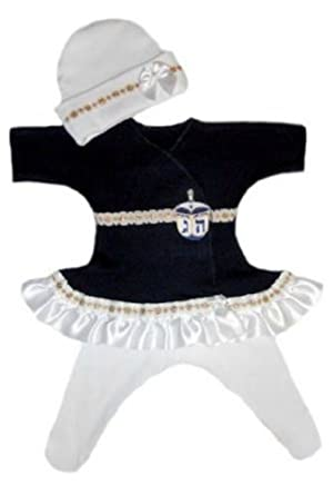 Beautiful Hanukkah Dreidel Baby Dress Set (Micro Preemie for Babies Weighing 0-3 Pounds)