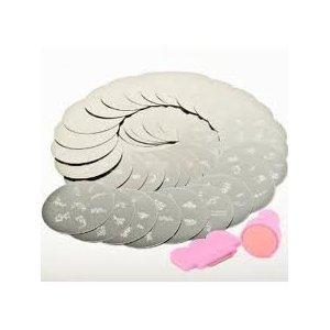 GRAND set d'accessoires pour Nail Art Nailart Vernis Tampons Stamping Manucure Image Plaques 10 plaques AVEC tampon GRATUIT et plus de 70 motifs