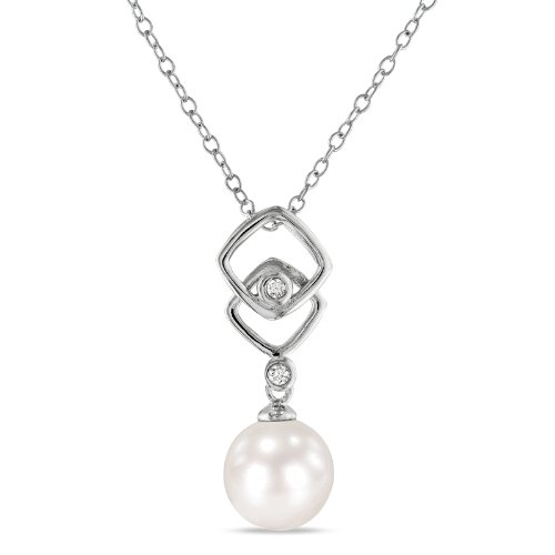Sterling Silver 0.04 CT TDW Diamond FW White Pearl Fashion Pendant With Chain (I3)