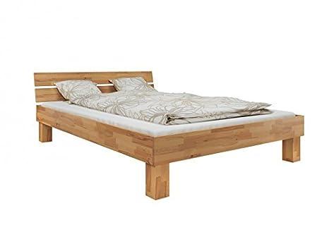 60.80-12-220 M Bett Buche massiv 120x220 cm, mit Rollrost und Matratze