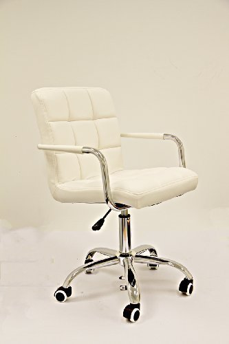 designer-pu-leather-adjustable-office-computer-chair-swivel-chrome-base-white