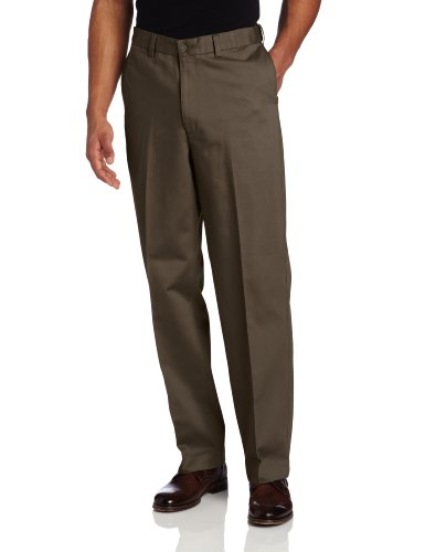 Savane Mens Big & Tall Wrinkle Free Flat Front Twill Pant, Shale, 46x28 (Big Men Casual Pants compare prices)
