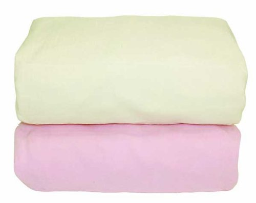 Tadpoles Organic Flannel Fitted Crib Sheets - Set of 2, Pink and Natural