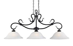 Elk 248-Bk Buckingham 3-Light Billiard Light, Matte Black With White Glass, 16-Inch H; 54-Inch W; 24-Inch Ext