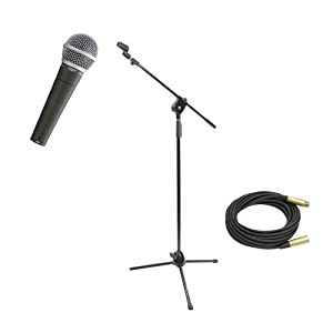 Pyle Mic and Stand Package - PDMIC58 Professional Moving Coil Dynamic Handheld Microphone - PMKS3 Tripod Microphone Stand W/ Extending Boom - PPMCL50 50ft. Symmetric Microphone Cable XLR Female to XLR Male