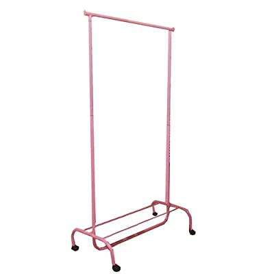JVL 43 x 83 x 108 cm Ladies Girls Adjustable Clothing Rail Garment Rack, Pink