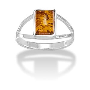 Sterling Silver Rectangular Amber Ring / Size 8