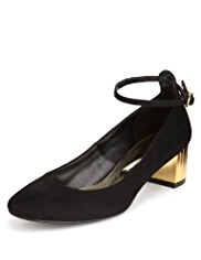 Limited Edition Ankle Strap Block Mid Heel Court Shoes with Insolia®